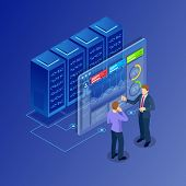 Isometric Concept Of Data Network Management. Businessmans In Data Center Room. Hosting Server And C poster