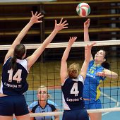 KAPOSVAR, HUNGARY - APRIL 24: Gabriella Kondor (13) strikes the ball at the Hungarian NB I. League w