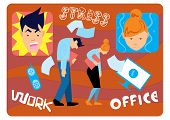 Office Stress. Work Stress In Office. Hard Work And Overworked People. Depression At Work. Stressed  poster