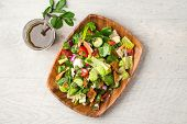 Fattoush Salad Top Flat Lay View. The Key Ingredient In This Middle Eastern Dish Is The Toasted Pita poster