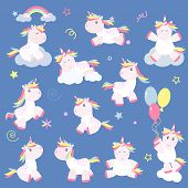 Cute Unicorn Magic Baby Vector. Fantasy Animal Lovely Horn Head Illustration Sweet Horse Dream Carto poster