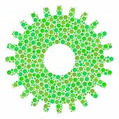 Cogwheel Mosaic Of Filled Circles In Different Sizes And Fresh Green Color Tints. Vector Round Eleme poster