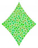 Diamonds Suit Mosaic Of Dots In Various Sizes And Ecological Green Color Tones. Vector Round Dots Ar poster