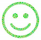 Glad Smiley Composition Of Filled Circles In Variable Sizes And Fresh Green Color Tints. Vector Dots poster