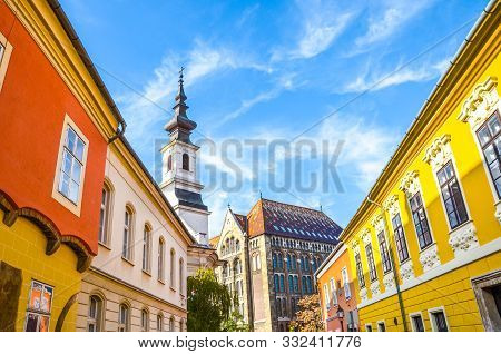 poster of Historical Street And Buildings With Colorful Facades In The Historical Center Of Budapest, Hungary.