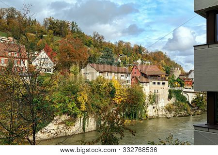 poster of View Of Old Town And Aare River On A Sunny Autumn Day. Town Of Brugg, Swiss Canton Of Aargau, Switze