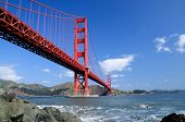 Golden Gate Bridge And Rocks