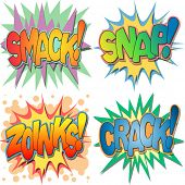 A Selection of Comic Book Exclamations and Action Words, Smack, Snap, Zoinks, Crack.