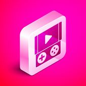 Isometric Portable Video Game Console Icon Isolated On Pink Background. Gamepad Sign. Gaming Concept poster