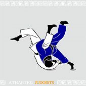 Greek art stylized judoists at the competition