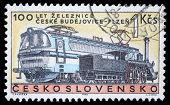 CZECHOSLOVAKIA - CIRCA 1965: A stamp printed in Czechoslovakia, shows centenary of the railway Czech
