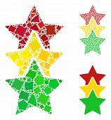 Rating Stars Mosaic Of Ragged Elements In Variable Sizes And Color Tints, Based On Rating Stars Icon poster