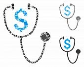 Dollar Health Mosaic Of Ragged Items In Different Sizes And Color Tones, Based On Dollar Health Icon poster