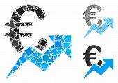 Euro Growth Mosaic Of Joggly Pieces In Different Sizes And Color Tinges, Based On Euro Growth Icon.  poster