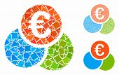 Euro Finances Mosaic Of Rough Elements In Variable Sizes And Color Tinges, Based On Euro Finances Ic poster