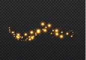 The Dust Sparks And Golden Stars Shine With Special Light. Vector Sparkles On A Transparent Backgrou poster