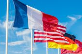 Nice Cote D Azur. France. June 20 2019. A View Of Flags Flying In Nice In Cote D Azur In France poster