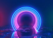 Glowing Lines, Tunnel, Neon Lights, Virtual Reality, Abstract Background, Square Portal, Arch, Pink  poster