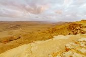 Sunset View Of Makhtesh (crater) Ramon, In The Negev Desert, Southern Israel. It Is A Geological Lan poster