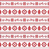 Christmas Scandinavain Folk Art Vector Seamless Pattern, Nordic Festive Design With Snowflakes, Flow poster
