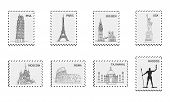 Famous Places Of World On Postmark - Coliseum And Eifel Tower, Big Ben And Taj Mahal, Statye Of Libe poster