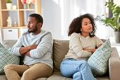 relationship difficulties, conflict and people concept - unhappy african american couple having argu poster