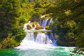 Beautiful Landscape With Waterfalls. Waterfalls In Krka National Park, Dalmatia, Croatia. poster