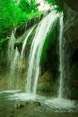 The Well-Known Beautiful Waterfall Djur Djur  In Forest, Crimea, Ukraine poster