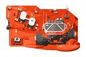 Futuristic Mars Rover Vector Illustration. Space Machine poster