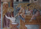 stock photo of judas  - Jesus washing the feet of Saint Peter at the Last Supper - JPG