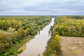 Cache River in Illinois above confluence with the Mississippi River, aerial view of fall scenery poster