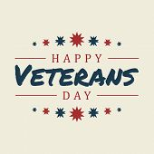 Vintage Latter Happy Veterans Day Concept Background. Illustration Of Happy Veterans Day Vector Conc poster