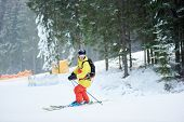 Male Backpacker On Skis In Goggles And Helmet In Snowfalling Weather, Standing On Steep Wooded Slope poster