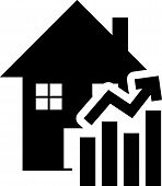 Black Rising Cost Of Housing Icon Isolated On White Background. Rising Price Of Real Estate. Residen poster