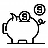 Piggy Bank Icon. Outline Piggy Bank Vector Icon For Web Design Isolated On White Background poster