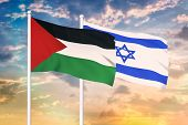 Relationship Between The Israel And The Palestine. Two Flags Of Countries On Heaven With Sunset. 3d  poster
