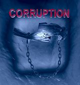 Mans Holding Bills Of Money With A Handcuff In A Jail. Concept Of Corruption, Corrupt Politicians, I poster