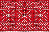 Vector Seamless Nordic Knitting Pattern, Red Colors poster
