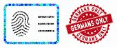Mosaic Biometric Account And Grunge Stamp Seal With Germans Only Text. Mosaic Vector Is Created With poster
