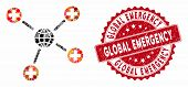 Mosaic Global Medical Links And Rubber Stamp Seal With Global Emergency Phrase. Mosaic Vector Is Des poster