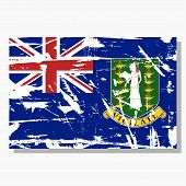 British Virgin Islands Flag With Scratches, Vector Flag Of British Virgin Islands. poster