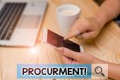 Conceptual Hand Writing Showing Procurment. Business Photo Showcasing Action Of Acquiring Military E poster