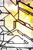 3D Buchstaben über alten schmutzigen Wand, urban Hip hop grau Hintergrundtextur mit hell bunt bemalt