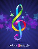 Multicolored glossy ribbons in the shape of treble clef - vector illustration