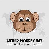 World Monkey Day With Monkey Face Vector Cartoon poster
