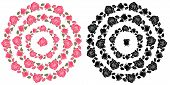 Vector Set Of Colorful And Colorless Floral Wreaths Made Of Rosebud Silhouettes Isolated On White Ba poster