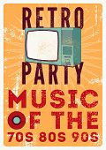 Retro Party Typographic Grunge Poster Design With Old Tv Set. Vector Illustration. poster