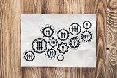 Corporate Social Responsibility Concept With Group Of Rotating Gears And Cogs. Human Resources Coope poster