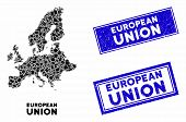 Mosaic European Union Map And Rectangular Rubber Prints. Flat Vector European Union Map Mosaic Of Sc poster