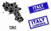 Mosaic Campania Region Map And Rectangular Seal Stamps. Flat Vector Campania Region Map Mosaic Of Sc poster